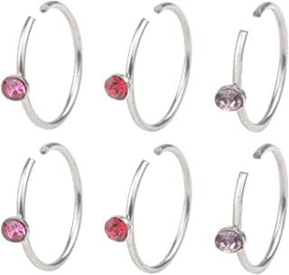 Du 22G 8mm Non Pierced Stainless Steel Clip On Closure Round Ring Fake Nose Lip Helix Cartilage Tragus Ear Hoop