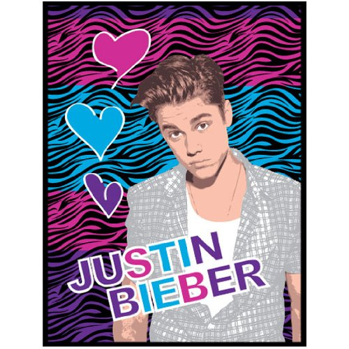 Justin Bieber Zebra Print Plush Twin Blanket - Hearts Bedding Twin-Single Bed