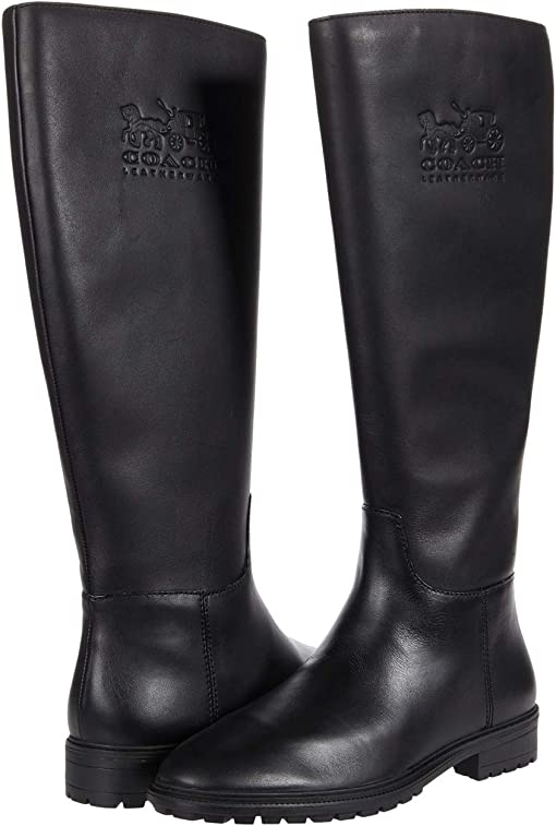 COACH Fynn Leather Boot,Black