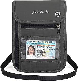 Auker Travel Passport Holder RFID Blocking Neck Wallet Pouch ID Credit Card Document Organizer Crossbody Bag (Gray-D)