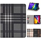 iPad Pro 11 Case 2020,HuiFlying [Grid Pattern Design] Slim Flip Stand Smart Wallet Case with Auto Sleep/Wake Function&Credit Card Slots for New iPad Pro 11 inch 2020(2nd Generation-Black