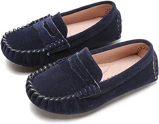 Battle Men Little Kids Penny Loafers Flat Heel Slip On Toddler's Shoes for Boys & Girls Causal Comfortable (Color : Blue, Size : 5.5 M US Toddler)