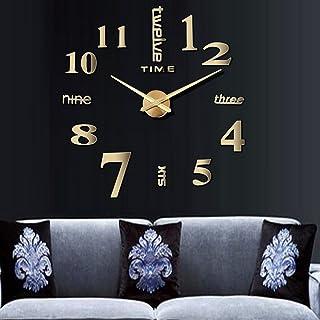 CUGBO DIY Wall Clock Modern Large 3D Wall Clock Mirror Stickers Home Office Decor,Gold