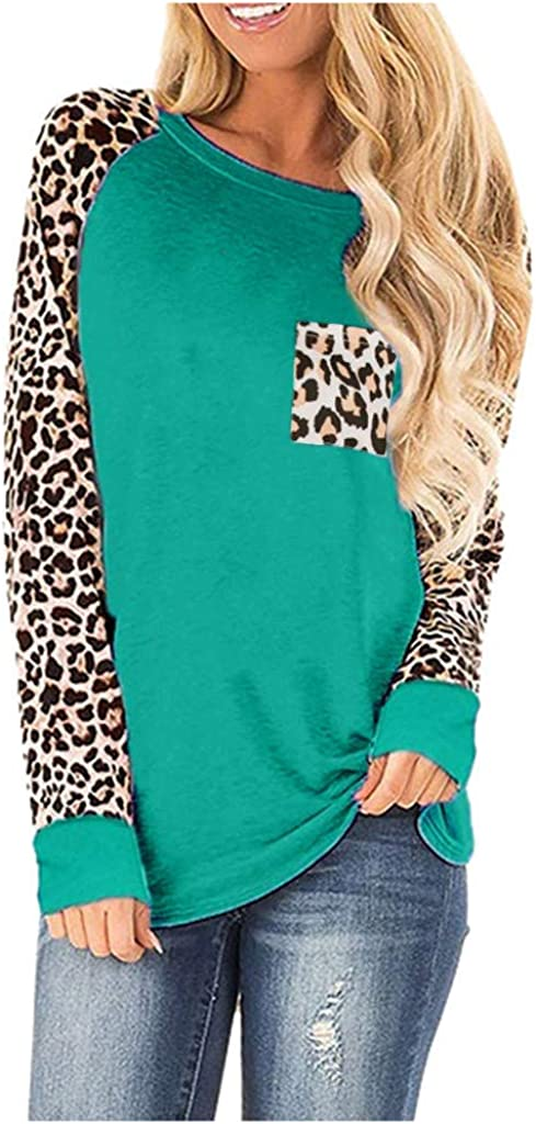 POTO Women's tops Leopard Print Pullover Patchwork Shirts Long Sleeve Sweatshirts Blouses with Pocket