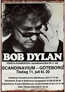 Huiaway Old Tin Signs Retro Car Wall Plaque Club Pub Bar Metal Poster Painting Retro Newspaper Bob Dylan 11.8x7.8 Inch