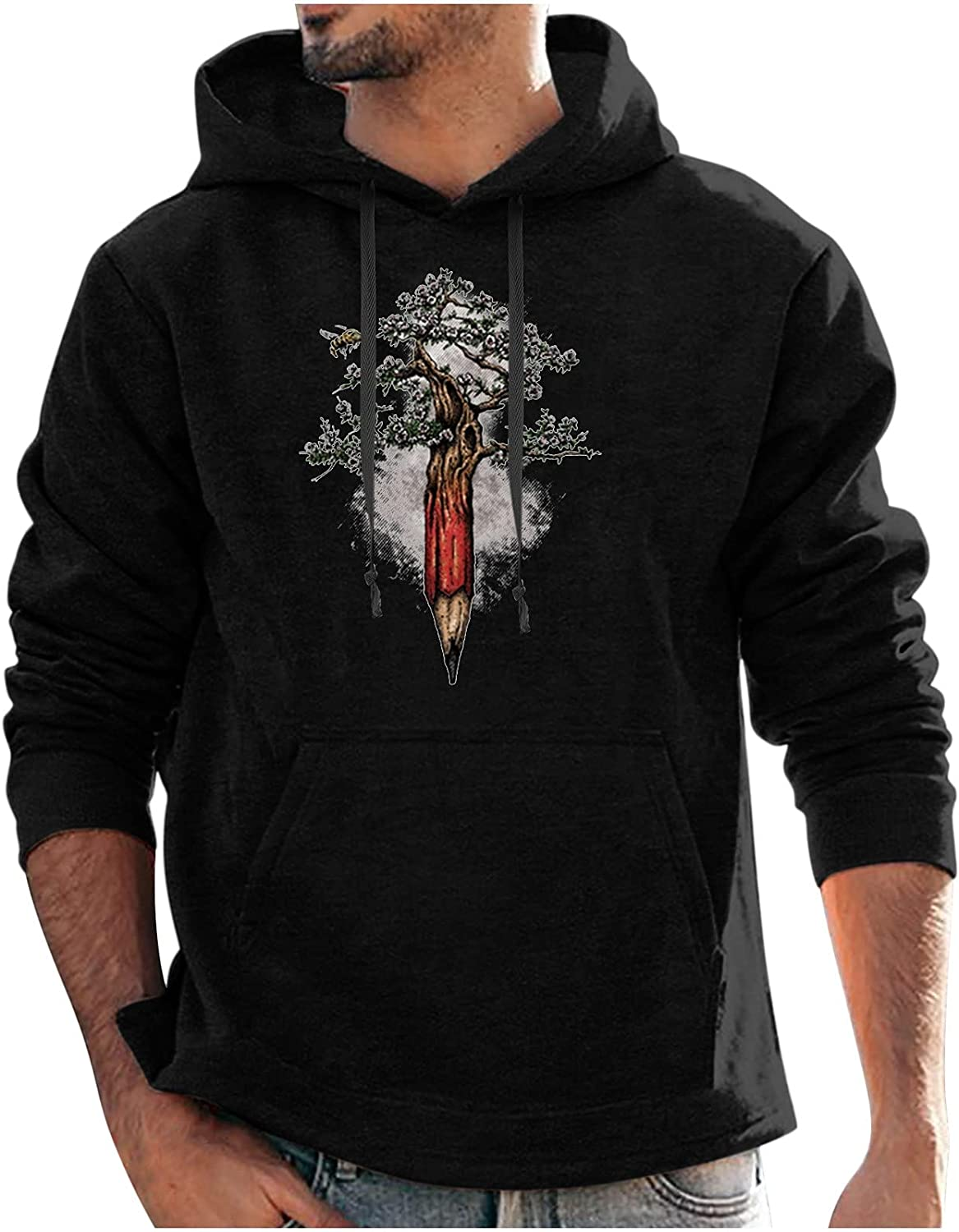 Graphic Pullover Hoodies for Men, Classic Fit Long Sleeve Hooded Sweater with Big Pocket