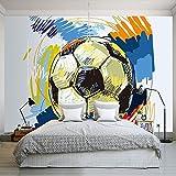 Moderno Pintado A Mano Pintado Pintado de Fútbol Papel Pintado Personalizado Mural Interior Decoración de Pared Arte Pintura Mural Fútbol...