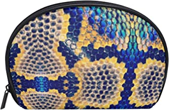Colorful Snake Skin Camo Womens Half Moon Cosmetic Bag Makeup Pouch Shell Toiletry Kits