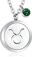 PLITI 12 Constellations Aromatherapy Essential Oil Diffuser Necklace with Birthstone Gift for Her