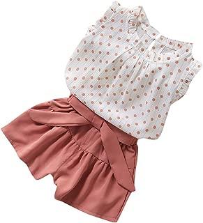 Cwemimifa 2pcs//Set Sommer m/ädchen Solid Sling R/üschen Sleeveless Hemd Tops /& Sonnenblumendruck Shorts Blume Kurze Hose Anzug