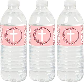 Pink Elegant Cross - Girl Religious Party Water Bottle Sticker Labels - Set of 20