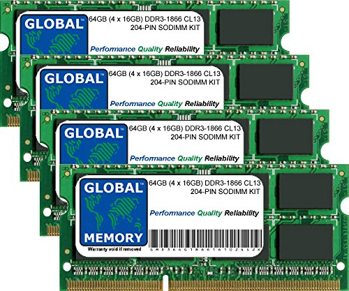 64GB (4 x 16GB) DDR3 1866MHz PC3-14900 204-PIN SODIMM MEMORY RAM KIT FOR LAPTOPS/NOTEBOOKS