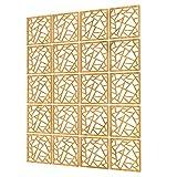 Paneles Divisorios de 20 Piezas - 117.5x147cm - Amarillo Biombos Separadores Cocina Forma Geometrica Pantalla Divisoria De Habitacion para Cocina, Oficina, Despensa, Baño