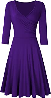 89813ab4faa HiQueen Women V-Neck A-Line Fit Flare Swing Party Dress