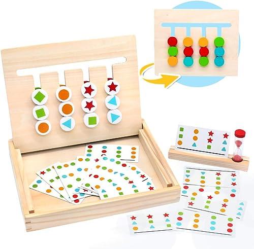 Symiu Juguetes Montessori Tablero Juego de Madera Puzzles Infantiles con Tarjetas de Patrón y Disco de Color Juguete ...