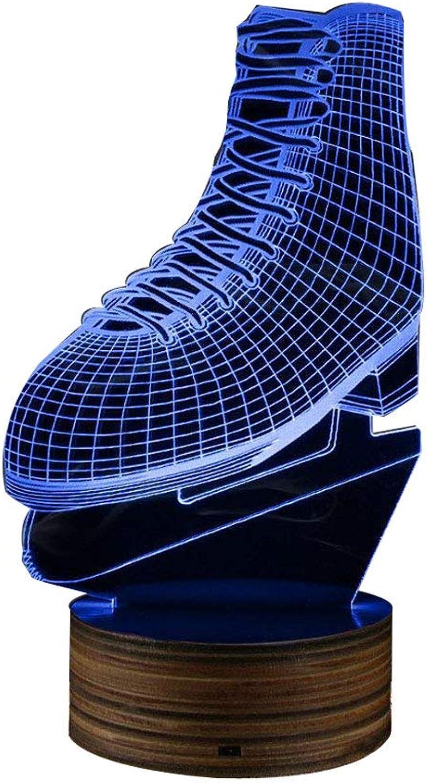 3D Eislaufen Form LED Nachtlicht, Skating Schuh 3D-Effekt Farbwechsel Lampe mit Fernbedienung Beleuchtung Lampe Geschenk für Eislufer