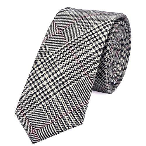 DonDon Corbata de cuadros de algodón para hombres de 6 cm - gris negro