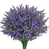 9 Piezas de Lavanda Artificial Flores y Plantas Púrpuras Artificiales Simulación de Lavanda Jardín Maceta Planta de Flores de Plástico de Fiestas para hogar Oficina Boda Decoración de Bricolaje