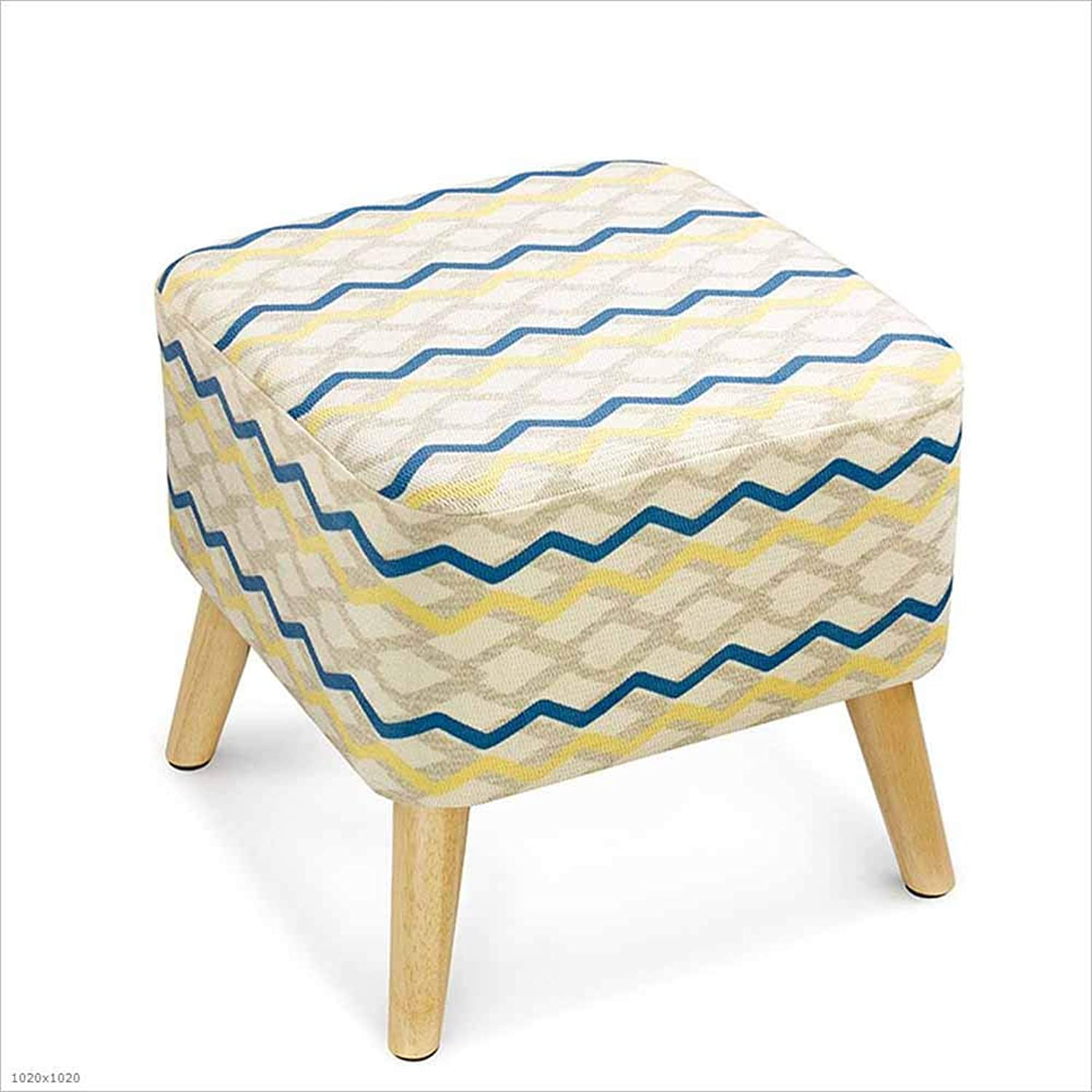 Change shoes Stool Solid Wood Cushion Sofa Stool Retro Solid Wood Low Stool Bedside Stool 40×40Cm, 2