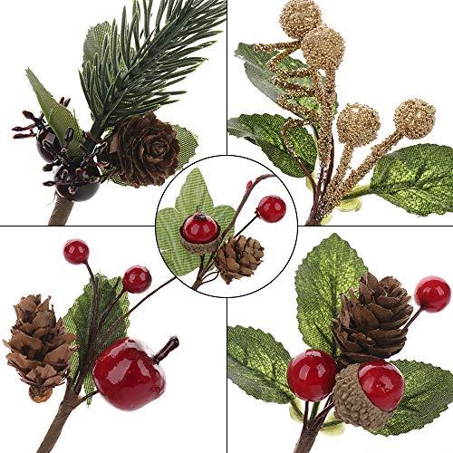 VKTY Weihnachtsblumen-Arrangement, 20 Stück, künstliche Tannenzapfen, Beeren-Stiele, Deko, Blumensträuße, Siehe Abbildung