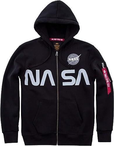 Alpha Industries NASA Zip Hoodie SchwarzL