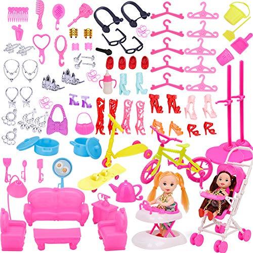 WENTS Accessori per Bambola Barbie Dolls 108 Pezzi Abito per Dolls Gonna Moda Scarpe Oggetto Rosa Grucce per Bambole Dolls Accessori per della Ragazza