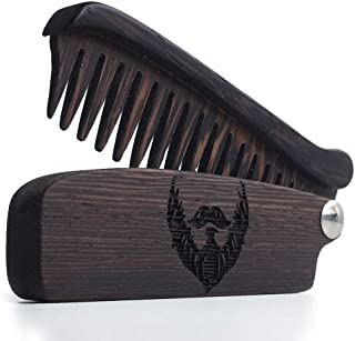 Wooden Beard Comb for Men. Folding Pocket Comb for Moustache, Beard & Hair. Walnut Combs with Wenge Beard Engraving