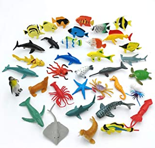 Taken All Dew Drops Water Beads Ocean Animal Toy Kit - 36 Sea Animal Creatures Included ,Assorted Mini Vinyl Plastic Sea Animals in Tube Action Figure Set