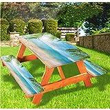 LEWIS FRANKLIN - Cortina de ducha tropical de lujo, mantel de picnic con borde elástico, 70 x 72 cm, juego de 3 piezas para mesa plegable