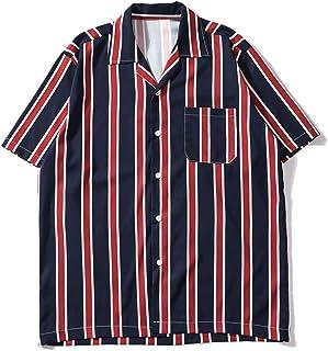 Zegeey Men's Shirts Casual Short Sleeve Striped Tops Loose Casual Blouse Short Sleeve Shirt Top