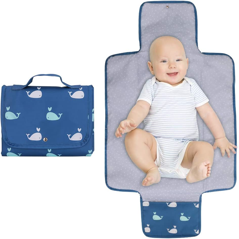 WIOR Portable Diaper Changing Pad, Waterproof Baby Changing Mat with Built-in Mesh Pocket for Diapers and Wipes, Foldable Travel Changing Pad for Newborn Boys & Girls - Blue