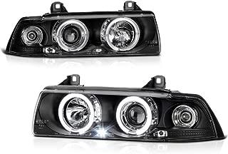 VIPMOTOZ For 1992-1998 BMW E36 3-Series Sedan Halo Ring Headlights, Driver & Passenger Side