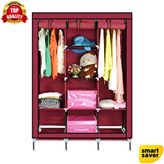 8 Shelf Closet Organizer Wardrobe Closet Portable Shelves, Storage Organizer Cabinet with Non-Woven Fabric, Quick and Easy to Assemble, Extra Strong and Durable by Smart Saver - Wine