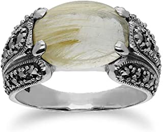 Ivy Gems Sterling Silver Marcasite Ring with Golden Oval Rutilated Quartz 14x10 mm Statement Ring Size 9 and 10 Vintage Ar...