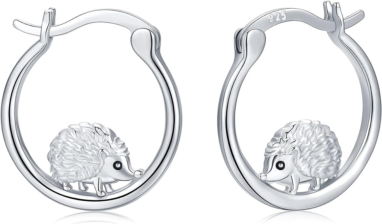 21. 925 Sterling Silver Hedgehog Hoop Earrings