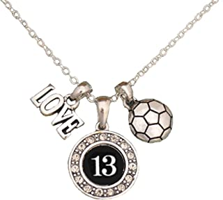 MadSportsStuff Custom Player Jersey ID Soccer Necklace (Available in 25 Numbers)
