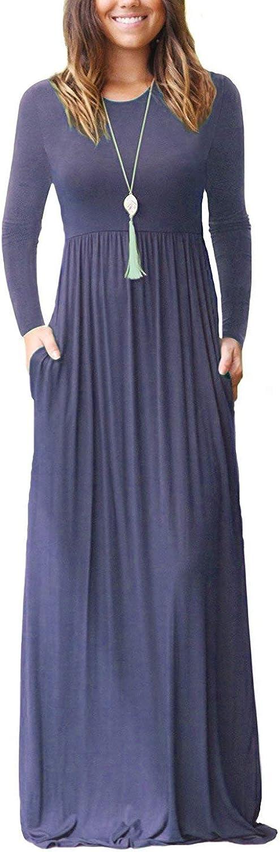 HIYIYEZI Women's Short Sleeve Loose Maxi Casual Kansas City Mall Dresses Plain Lo Sale item