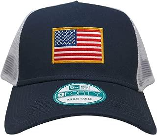New Era 9FORTY 5 Panel USA Flag Patch Snapback Trucker Cap - Navy