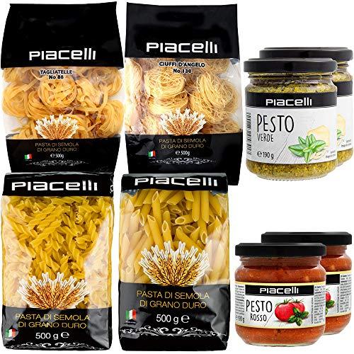 Italienisches Nudelpaket Feinkost Set Pasta & Pesto Spezialitäten Feinschmecker Paket Tagliatelle Penne Fusillini Ciuffi