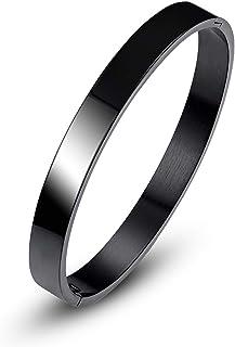 MEENAZ Stainless Steel Non-Precious Metal Kada Bracelet for Boy's ( Black )