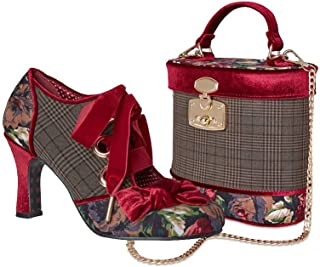 Ebbly Bboutique Women Vintage Style Handbag Shoulder Bag and Medium Size Heels Shoe with Velvet and Brocade Detailing for Parties, Cocktail, Weddings, and Receptions