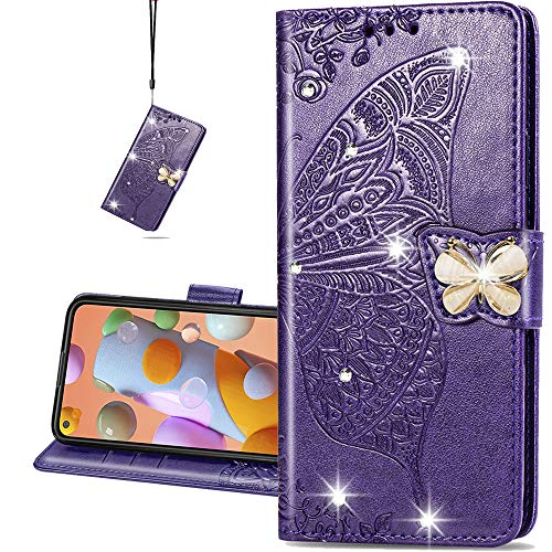 COTDINFORCA case for Huawei Honor 9X Lite Hülle,Diamant Kristall Schutzhülle Magnet Handytasche Kartenfächer Lederhülle Flip Handyhüllen für Huawei Honor 9X Lite Cover Diamond Butterfly Purple SD