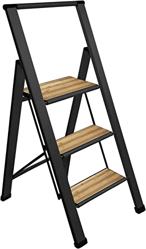 2021 Sorfey Premium 3 Step Modern Bamboo Ladder. Lightweight,-Ultra Slim Profile, Anti Slip Steps, new arrival Sturdy-Portable for Home, Office, Kitchen, Photography Use, Black Aluminum 2021 Finish sale