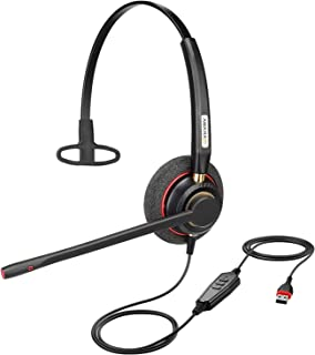 USB Headset with Microphone Noise Cancelling& Audio Controls Ultra Comfort Computer Headset for Business Skype UC Webinar ...