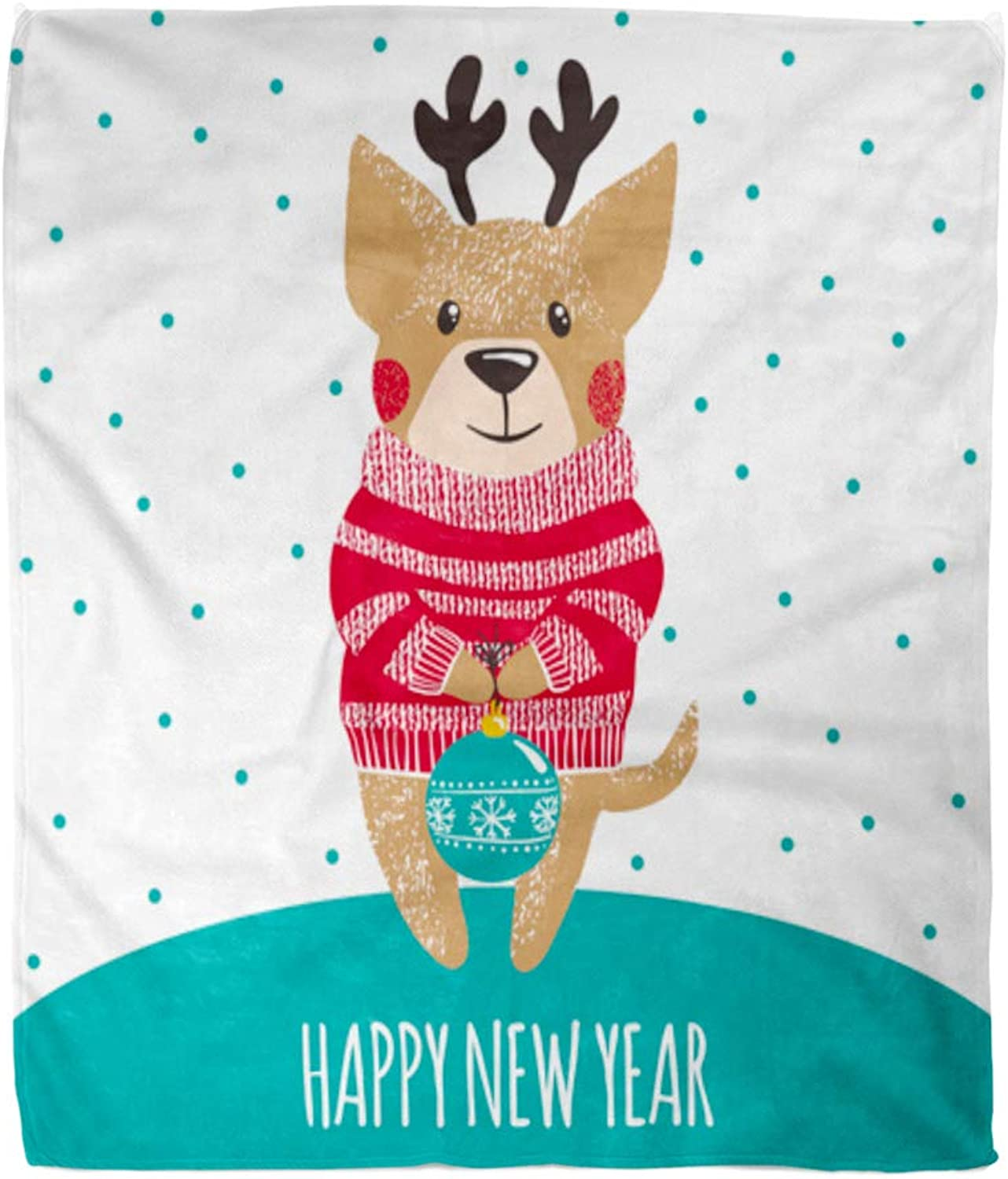 Emvency Throw Blanket Warm Cozy Print Flannel New Year Cute Dog in Winter Warm Sweater and Deer Horns Christmas Comfortable Soft for Bed Sofa and Couch 50x60 Inches