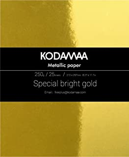 KODAMAA Premium Shimmer Art Craft Gold/Silver Metallic Paper, Multipurpose Cardstock Perfect for Festival Crafting, Printing, Gift Packaging (25 Sheets)