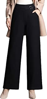 Chowsir Women Thick Casual Stretch High Waist Straight Pants Loose Wide Leg Pants