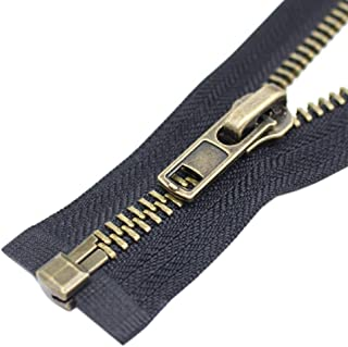 YaHoGa #8 32 Inch Anitique Brass Separating Jacket Zipper Y-Teeth Metal Zipper Heavy Duty Metal Zippers for Jackets Sewing Coats Crafts (32