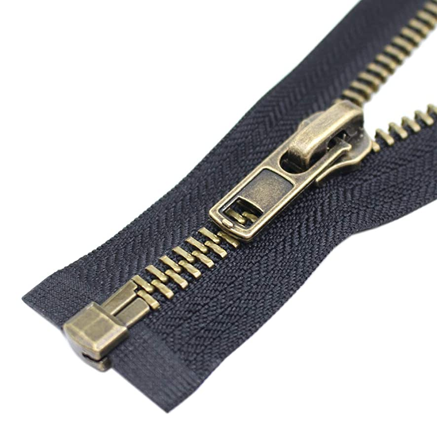 YaHoGa #8 26 Inch Anitique Brass Separating Jacket Zipper Y-Teeth Metal Zipper Heavy Duty Metal Zippers for Jackets Sewing Coats Crafts (26