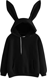 Toeava Cute Sweatshirt for Womens Teens Girls,Fashion Solid Long Sleeve Rabbit Hoodies Pullover Sweatshirts with Pocket